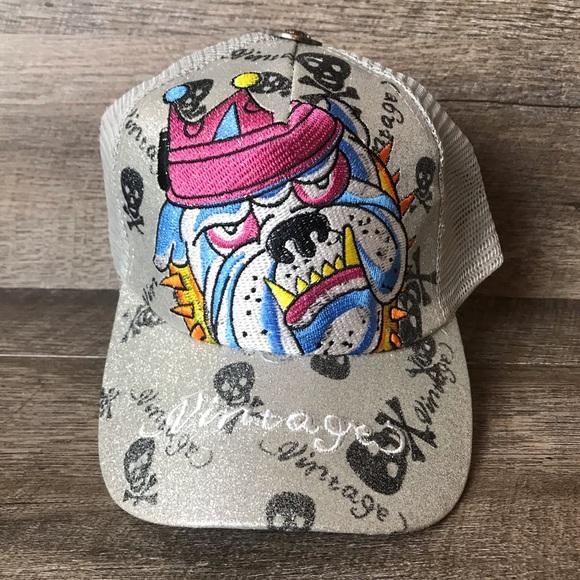 Silver Embroidered Bulldog Baseball Hat